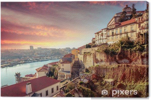 Obraz na płótnie Porto, Portugalia starego miasta panoramę o zachodzie słońca, piękny gród - Krajobrazy