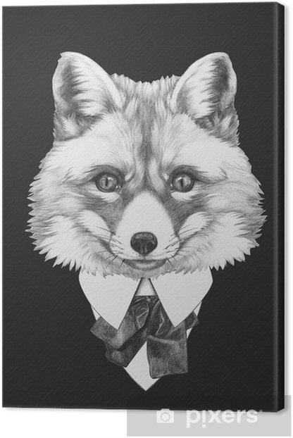 Obraz na płótnie Portret Fox w kolorze. Ręcznie rysowane ilustracji. - iStaging