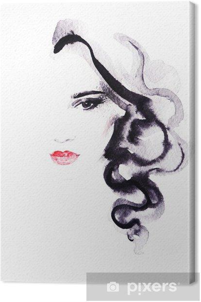 Obraz na płótnie Portret kobiety .abstract tle akwarela .fashion - Kobiety