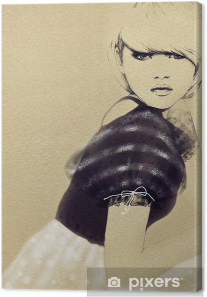 Obraz na płótnie Portret kobiety .abstract tle akwarela .fashion - Tematy