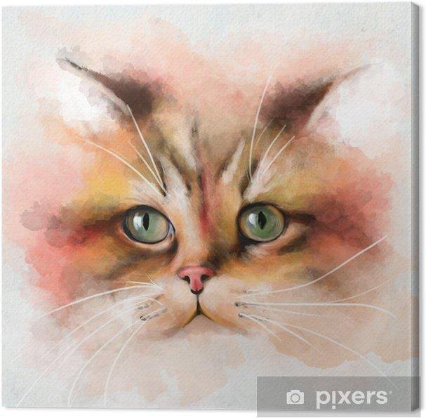 Obraz na płótnie Portret kota z wielobarwną twarzą i zielonymi oczami, zbliżenie na białym tle - Zwierzęta