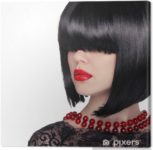 Obraz Na Płótnie Portret Mody Brunetka Kobieta Czarne Krótkie Fryzury Czerwone Li