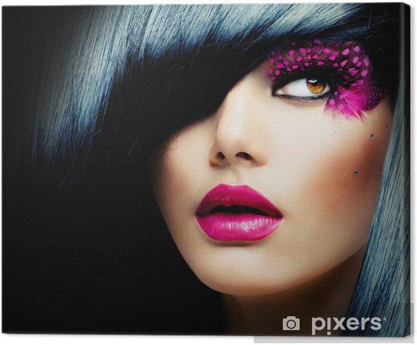 Obraz na płótnie Portret mody model brunetka. Fryzura - Moda