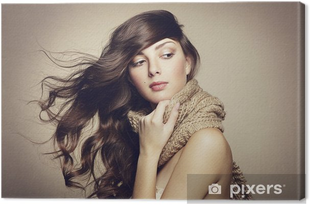 Obraz na płótnie Portret piękne młoda kobieta z szal - Kobiety