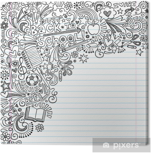 Obraz na płótnie Powrót do szkoły Doodles na atrament Vector Notebook papieru tła - Edukacja