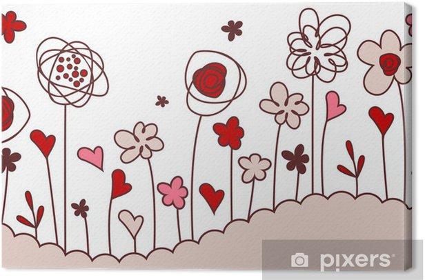 Obraz na płótnie Powtarzalne granicy pozioma z stylizowane kwiaty rosnące - Sztuka i twórczość