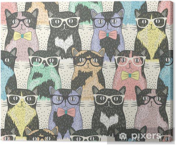 Obraz na płótnie Powtarzalne z hipster cute kotów dla dzieci - Przeznaczenia