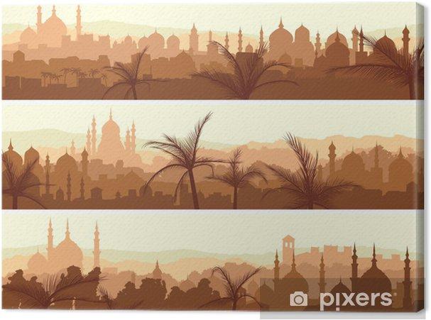 Obraz na płótnie Poziome transparenty z wielkiego miasta Arabskich na zachodzie słońca. - Europa