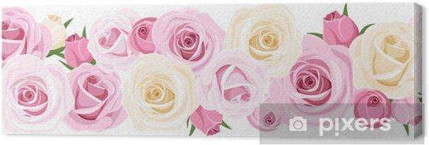 Obraz na płótnie Poziomy tła bezszwowych z róż. Ilustracji wektorowych. - Kwiaty
