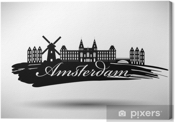 Obraz na płótnie Projekt Amsterdam City typografia - Zabytki