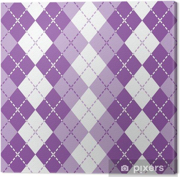 Obraz na płótnie Przerywana argyle w kolorze fioletowym i białym powtarza się płynnie. - Zasoby graficzne