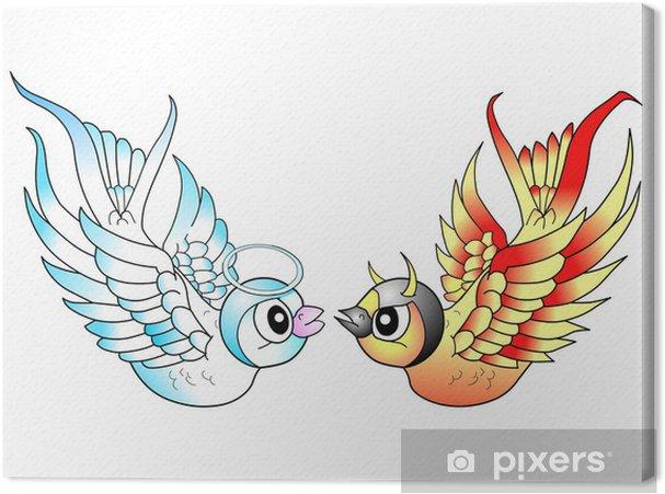 Obraz Na Płótnie Ptaki Tatuaż Anioł I Diabeł