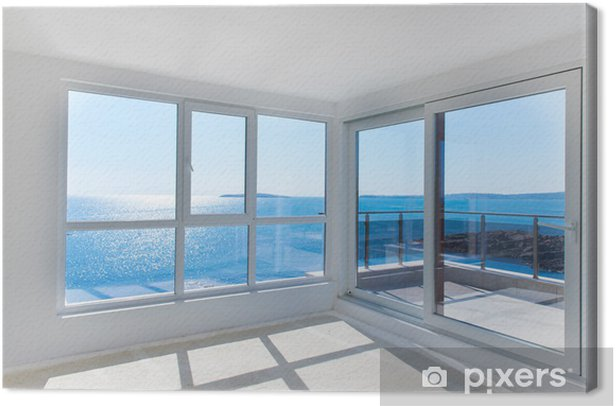 Obraz na płótnie Pusty pokój z widokiem na morze - Budynki prywatne