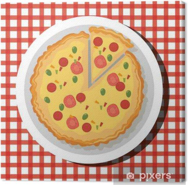 Obraz na płótnie Pyszne hot pizzy Embelm ilustracji wektorowych projektowania - Jedzenie