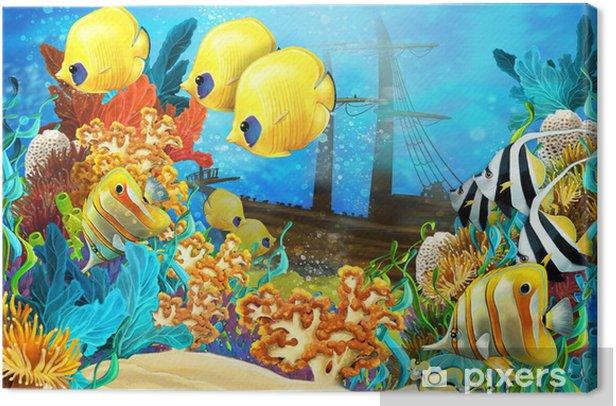 Obraz na płótnie Rafa koralowa - ilustracja dla dzieci - Rafa koralowa
