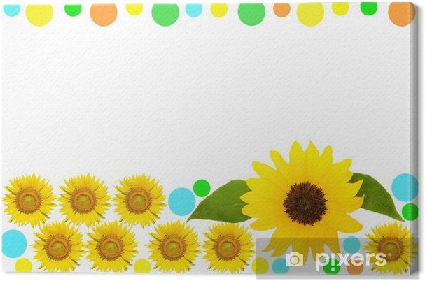 Obraz na płótnie Ramka z kropki i kwiatów słonecznika - Znaki i symbole