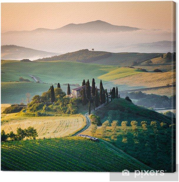 Obraz na płótnie Ranka w Toskanii i wzgórza -