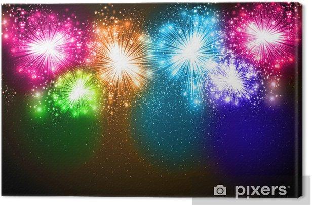 Obraz na płótnie Realistyczne Wektor fajerwerków eksplodujące na nocnym niebie - Święta międzynarodowe