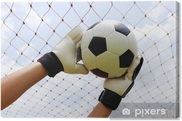 Obraz na płótnie Ręce bramkarskie dotarcia do piłki stóp - Sporty drużynowe