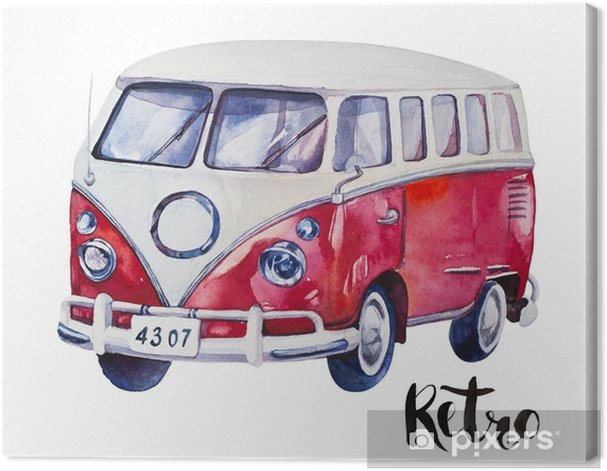 Obraz na płótnie Ręcznie malowane akwarela rocznika czerwony samochód. akwarela ilustracja - Transport
