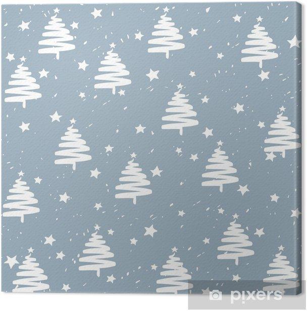 Obraz na płótnie Ręcznie robione jodły drzewa gwiazd śnieg wektor wzór. Szczęśliwego nowego roku i świąt Bożego Narodzenia transparent tło. - Zasoby graficzne