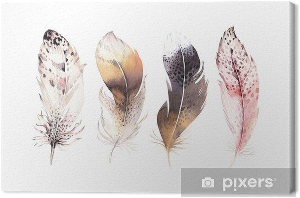 360366e94145ee Obraz na płótnie Ręcznie rysowane akwarele wibrujący zestaw pióro. skrzydła  w stylu boho. ilustracja na białym tle. projekt ptak latać na t-shirt, ...