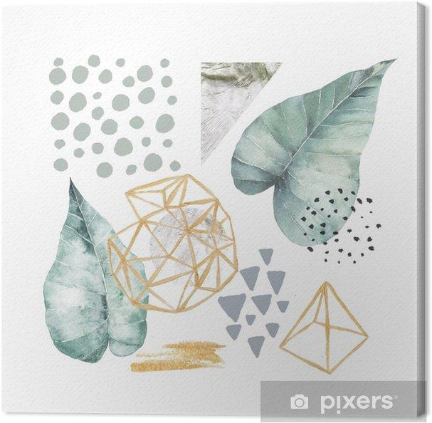 Obraz na płótnie Ręcznie rysowane ilustracji z elementami akwarela i marmur. Skandynawski projekt. - Zasoby graficzne