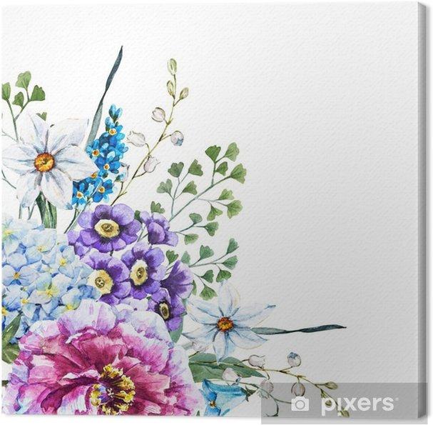 Obraz na płótnie Ręcznie rysowane kwiaty akwarela - Rośliny i kwiaty