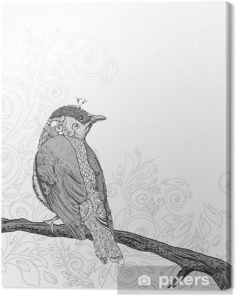 Obraz na płótnie Ręcznie rysowane ptak na gałęzi. -
