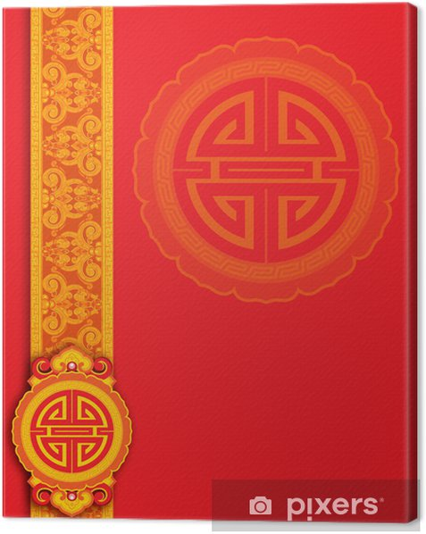 Obraz na płótnie Red chiński deseń tła - Tła