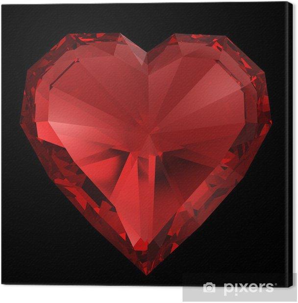 Obraz na płótnie Red diamond heart wyizolowanych z wycinek trasy. - Świętowanie