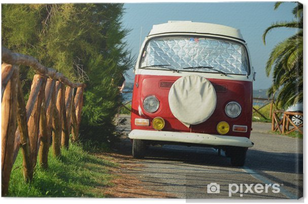 Obraz na płótnie Red rocznika van - Transport drogowy