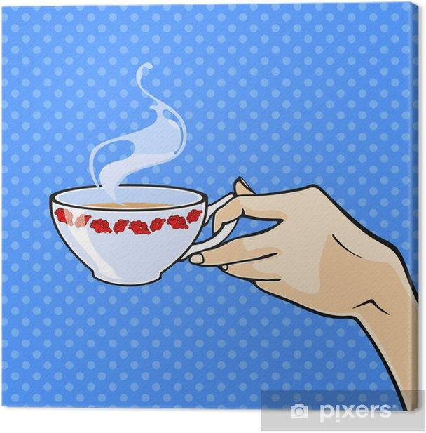 Obraz na płótnie Ręka z filiżanką herbaty - Części ciała