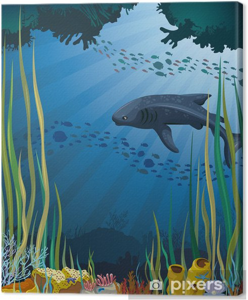 Obraz na płótnie Rekin wielorybi i rafa koralowa. - Rafa koralowa