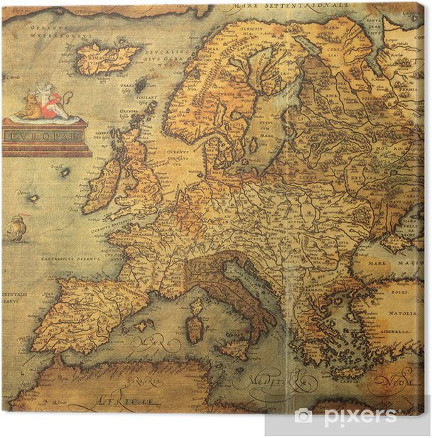 Obraz na płótnie Reprodukcja 16 wieku mapę Europy -
