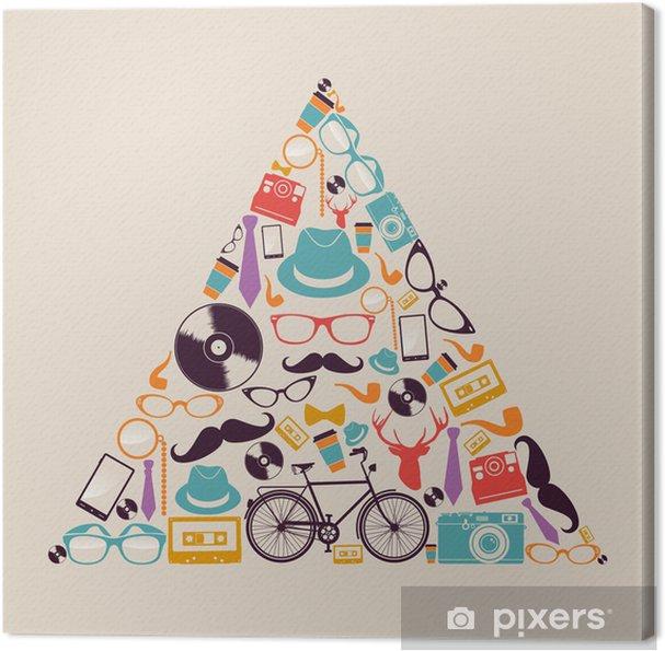 Obraz na płótnie Retro biodrówki ikony trójkąta. - Moda