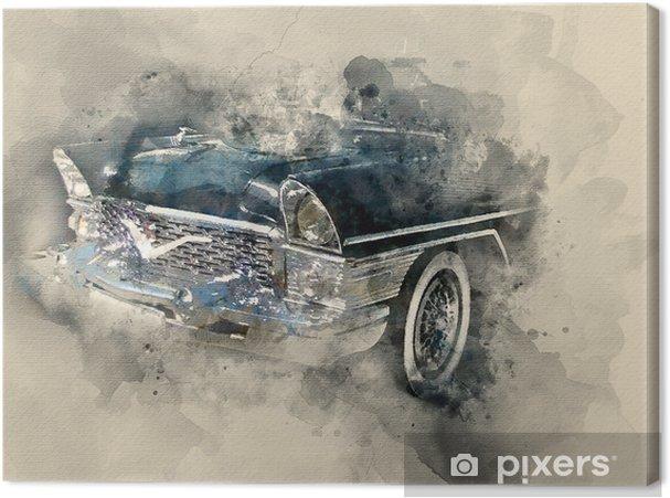 Obraz na płótnie Retro samochód. tło akwarela - Transport