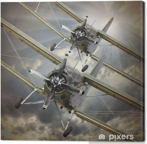 Obraz na płótnie Retro styl obraz z biplanes. Temat transportu. -
