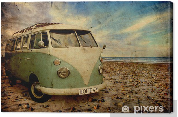 Obraz na płótnie Retroplakat - Bulli am Strand - Style