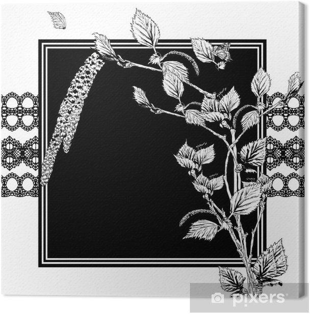 Obraz na płótnie Rocznika monochromatyczne tło z gałązek brzozy - Drzewa