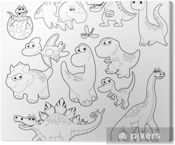 Obraz na płótnie Rodzina dinozaurów. Vector pojedyncze czarne i białe znaki. - Inne Inne