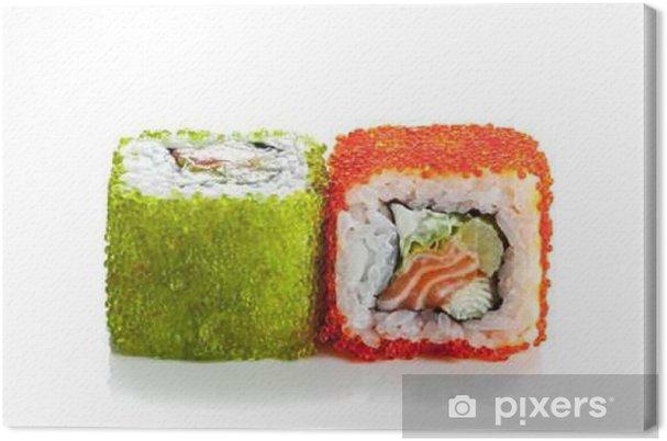 Obraz na płótnie Rolki sushi z łososiem i kawiorem odizolowane na białym - Jedzenie