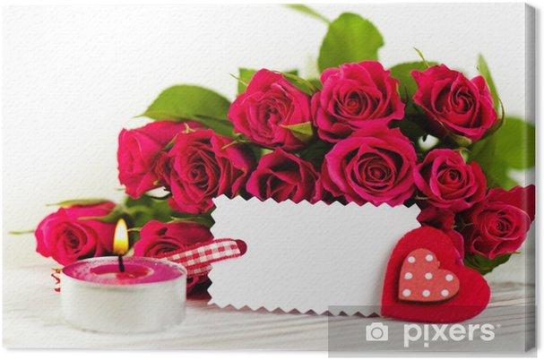 Obraz na płótnie Rose bukiet z świeca i serca - Święta międzynarodowe