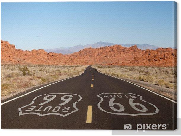 Obraz na płótnie Route 66 Sign Pavement z Red Rock Mountains - Tematy