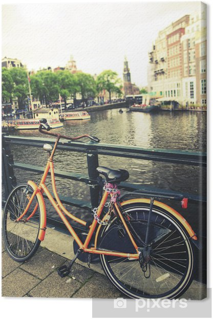 Obraz na płótnie Rower na moście w Amsterdamie - Miasta europejskie