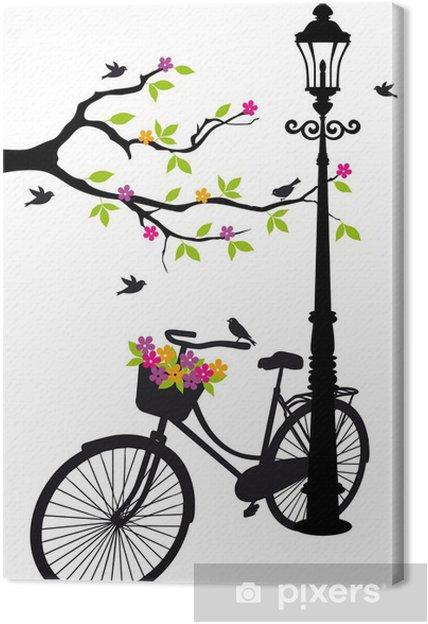 Obraz na płótnie Rower z lampy, kwiaty i drzewa, wektor -