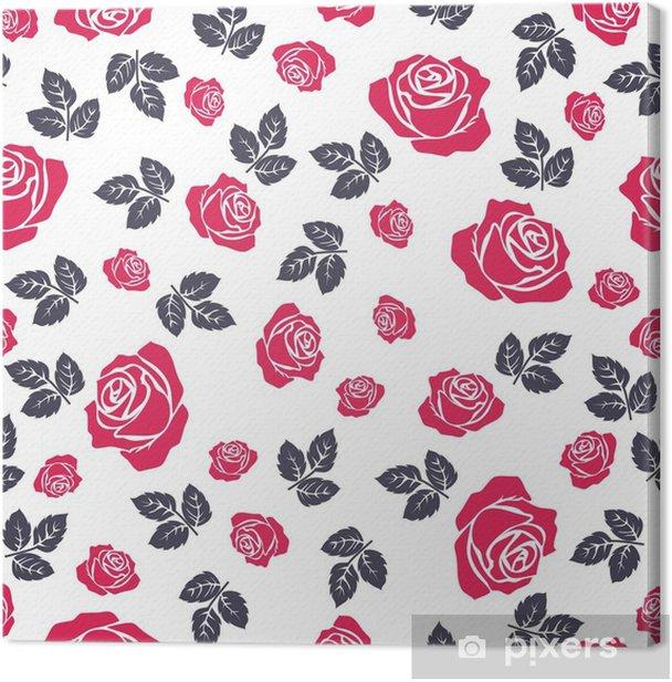 Obraz na płótnie Róża bez szwu. wzór z róż kwiatów. kwiatowy bezszwowe tło. - Rośliny i kwiaty
