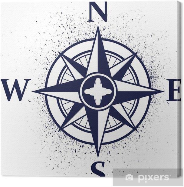 Obraz na płótnie Róża wiatrów z plamami atramentu - Znaki i symbole