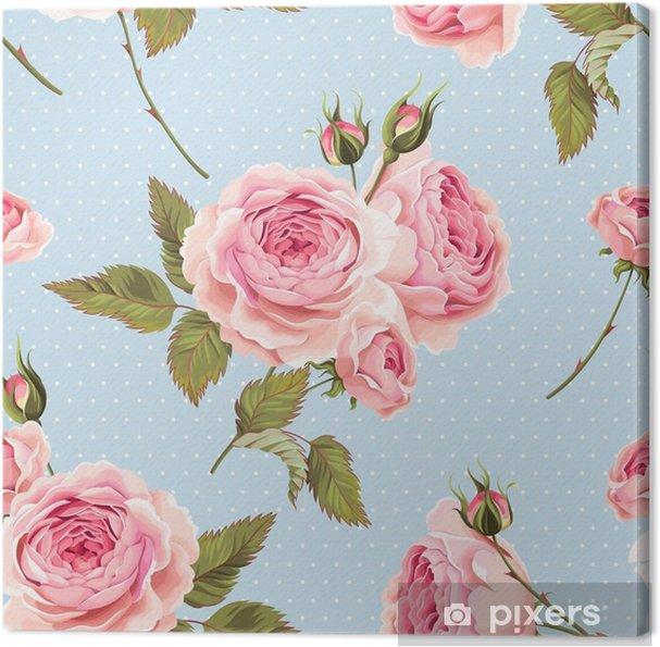 Obraz na płótnie Róże angielskie bez szwu - Rośliny i kwiaty