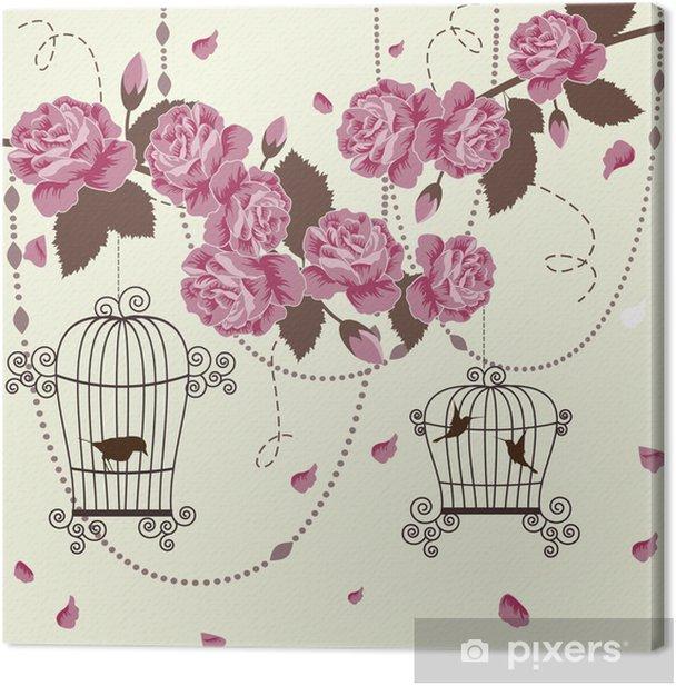 Obraz na płótnie Róże i ptaki w klatkach - Style
